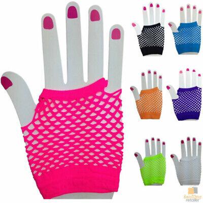 80/'s Purple Mesh Fishnet Fingerless Gloves 1980/'s Rave Disco