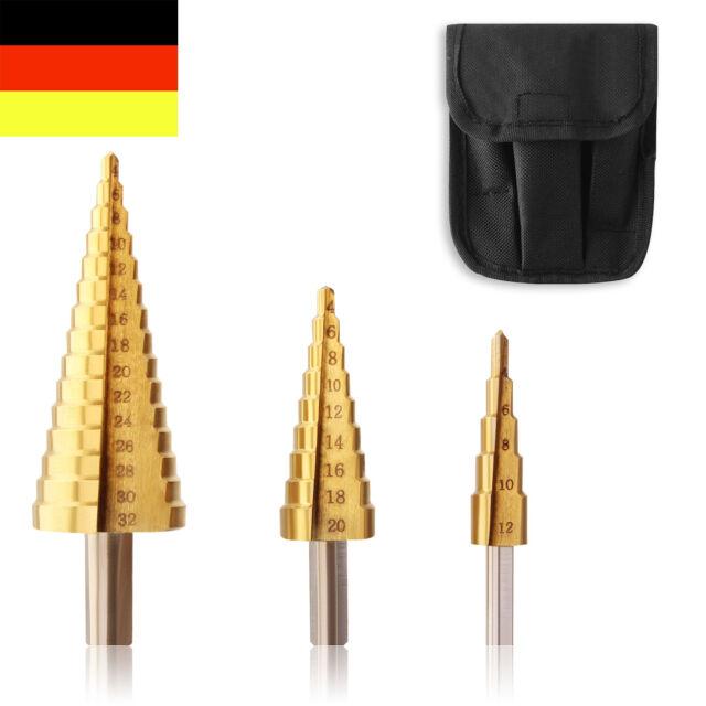 HSS Stufenbohrer TITAN 4-32mm Fräser Schälbohrer Kegelbohrer Bohrer Satz KFZ NEU