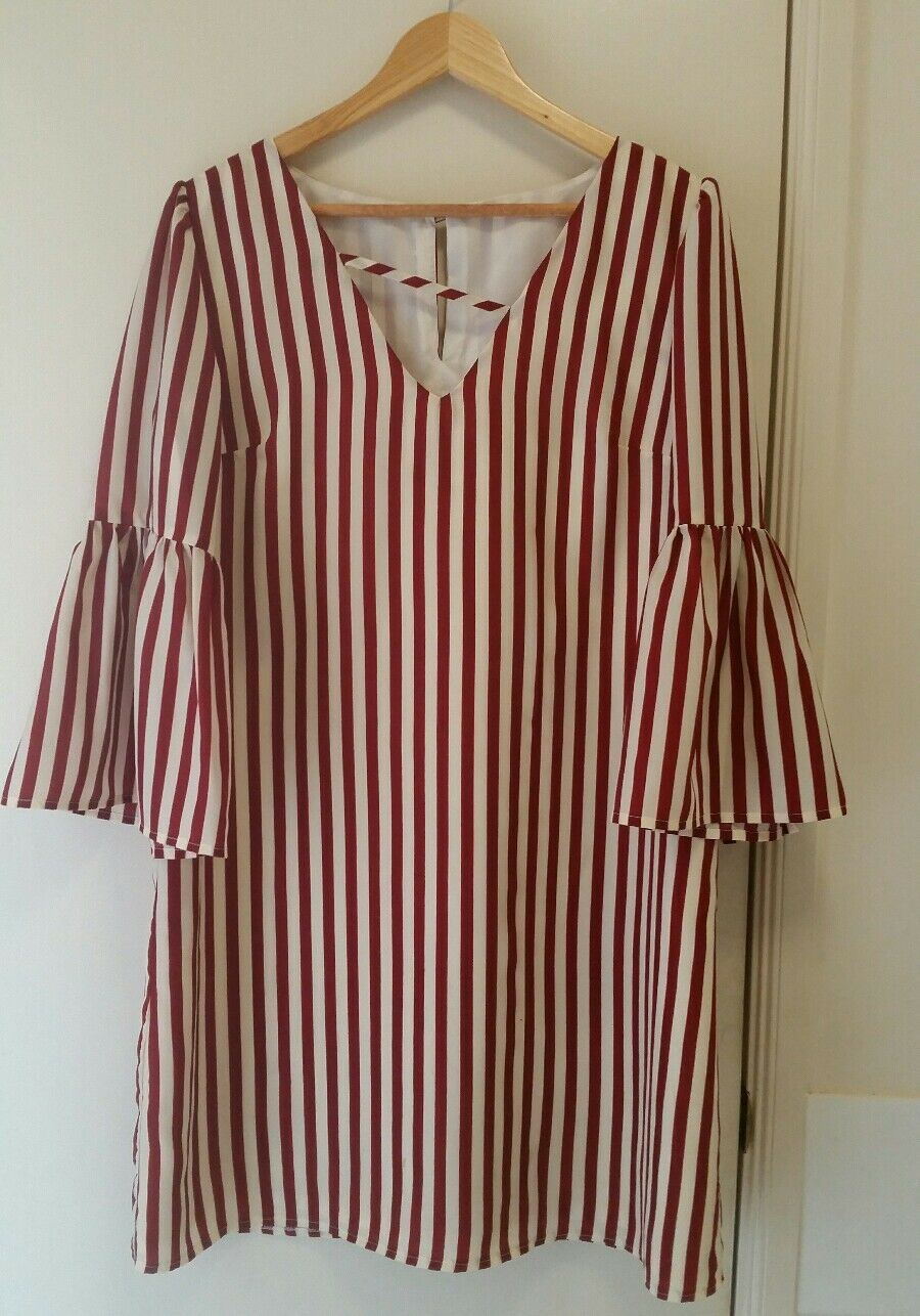 NEW Burgundy and White stripe shift dress with bell sleeve, size 12-14