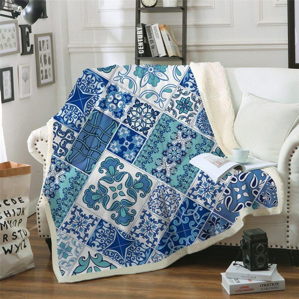 Blau Mosaic Floral Print Sherpa Plush Throw Blanket Fleece Bed Sofa Couch