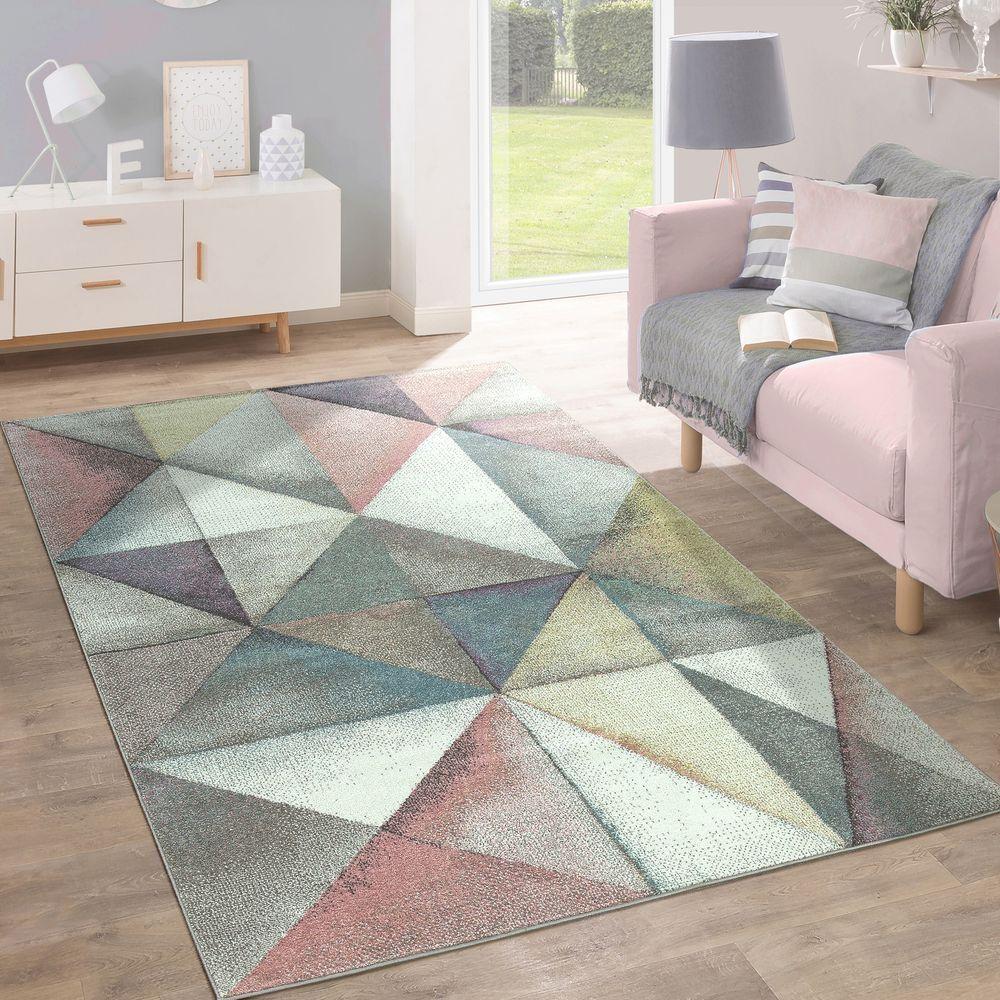 Brevemente flor alfombra moderna los Colors pastel moderno triángulo triángulo triángulo Design multiColor multiColor 9e1881