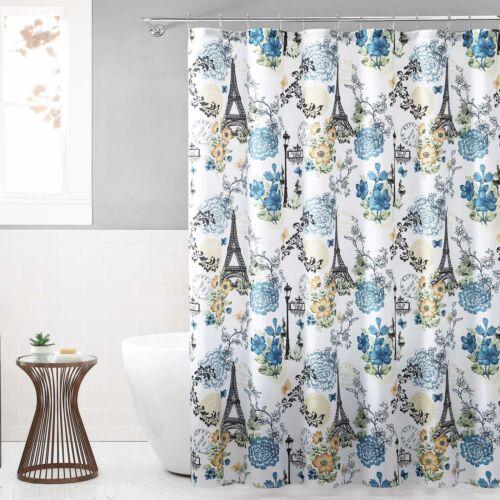 "Fabric Shower Curtain for Bathroom White Navy Black Eiffel Tower Paris 72/"" x 72/"""