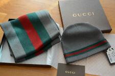 082b1f5361ca4 Black Gucci Beanie Hat and Scarf Set Classic Signature Web.size XL ...