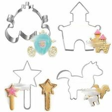 4 x Princess Theme Metal Stainless Steel Cookie Biscuits Cutters Wand Horse