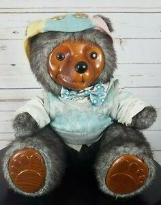 Robert-Raikes-Reginald-83589-Bear-V-Neck-Sweater-Bow-Wood-Face-Paws-1986-RARE