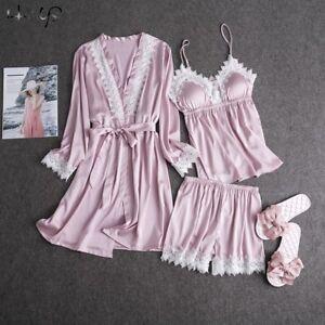 8b566c8ea0 Image is loading Women-Silk-Satin-Pajama-3PCS-Night-Dress-Sleepwear-