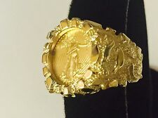 14K Gold Men's 21 MM NUGGET COIN RING with a 22 K 1/10 OZ AMERICAN EAGLE COIN