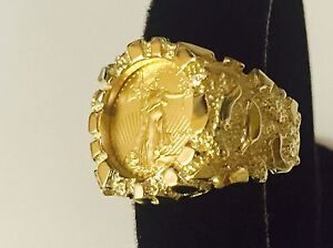 14k Gold Men S 21 Mm Nugget Coin Ring With A 22 K 1 10 Oz American Eagle Coin Ebay