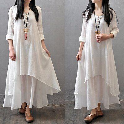 Women Peasant Ethnic Boho Cotton Linen Long Sleeve Maxi Dress Gypsy Blouse Shirt