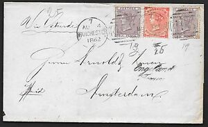 Great Britain covers 1862 mixed franked folded cover Manchester to Amsterdam