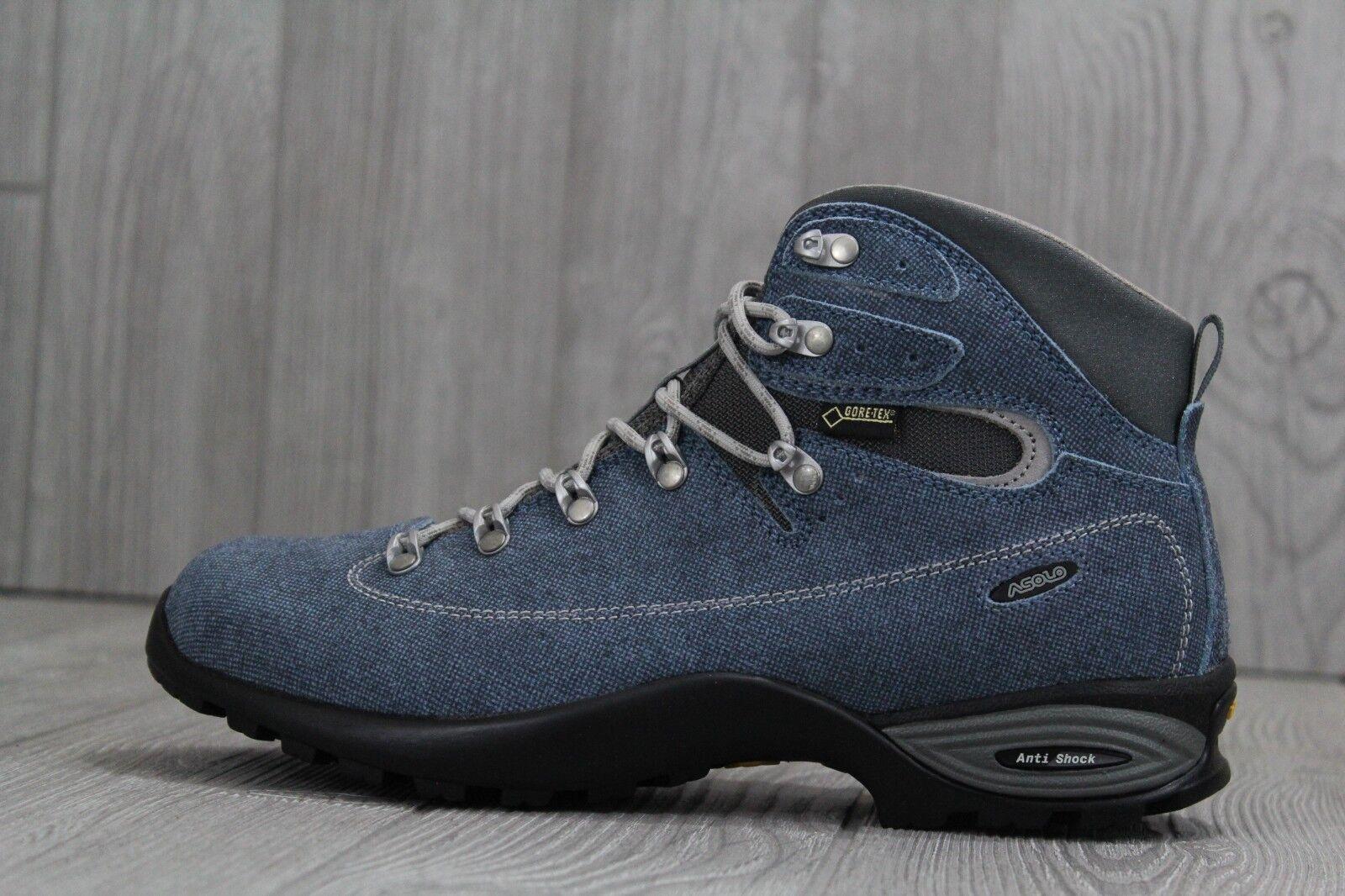 31 Asolo Tacoma GV Gore-Tex GTX Vibram Hiking Boots bluee Grey Womens Sz 7.5 - 10