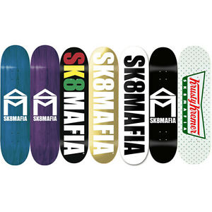 SK8MAFIA Skateboard Decks San Diego Skate Classic Logos Stained Wood Wes Kremer