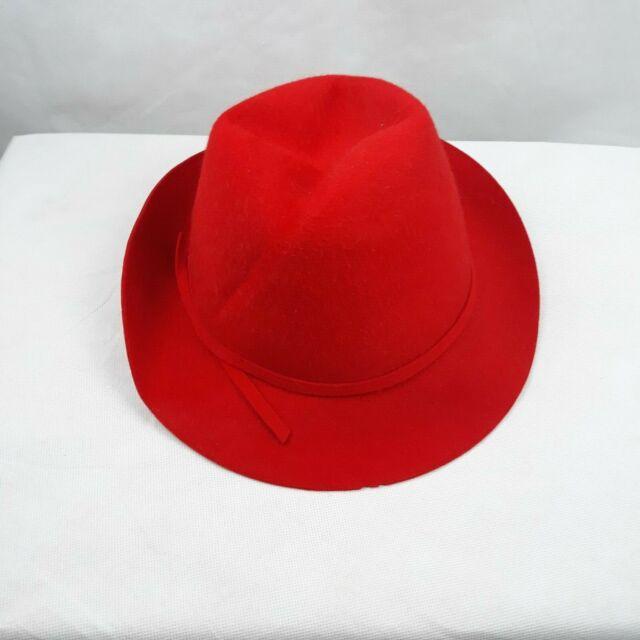Women/'s Red Wool Fedora Hat