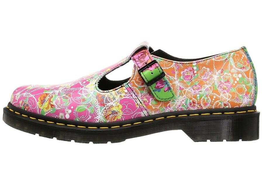 Dr Martens Polley Daze Mary Jane T-Bar Strap Multi Flowers Wouomo US 7 nuovo  130