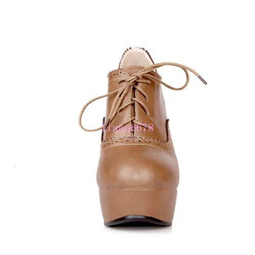 Bottines femme à lacets talon bottier haut Bout Rond Rétro Vintage Mary janes chaussures en cuir