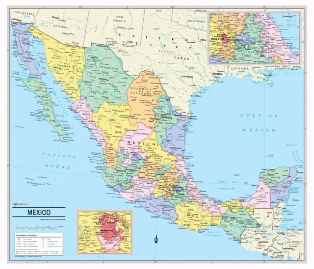 Cool Owl Maps Mexico Wall Map Poster - Paper 28\