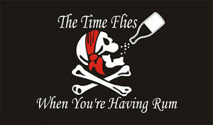5-039-x-3-039-Time-Flies-When-You-039-re-Having-Rum-Pirate-Flag-Skull-amp-Crossbones-Banner