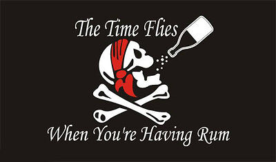 5' x 3' Time Flies When You're Having Rum Pirate Flag Skull & Crossbones Banner