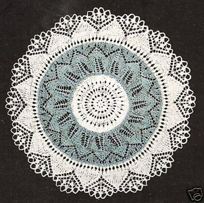 Vintage Knitting PATTERN to make Lace Doily Mat Centerpiece Pad KnittedStar