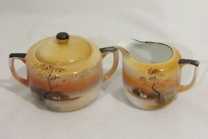 Vtg-NORITAKE-CREAMER-SUGAR-BOWL-Set-Hand-Painted-Japan-Orange-Lusterware