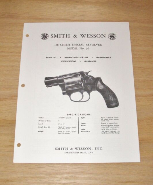 smith wesson 38 cal model 36 revolver manual sw 1 ebay rh ebay com smith wesson manual pdf model 916-a smith wesson 686 manual
