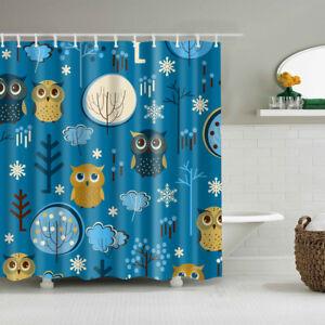 Children S Bathroom Shower Curtains.Details About Children Cartoon Owl Design Shower Curtain Art Bathroom Decor Curtains 12 Hooks