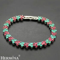 """Natural AAA Genuine 925 Sterling Silver Beautiful RUBY EMERALD Bracelets 7"""""""