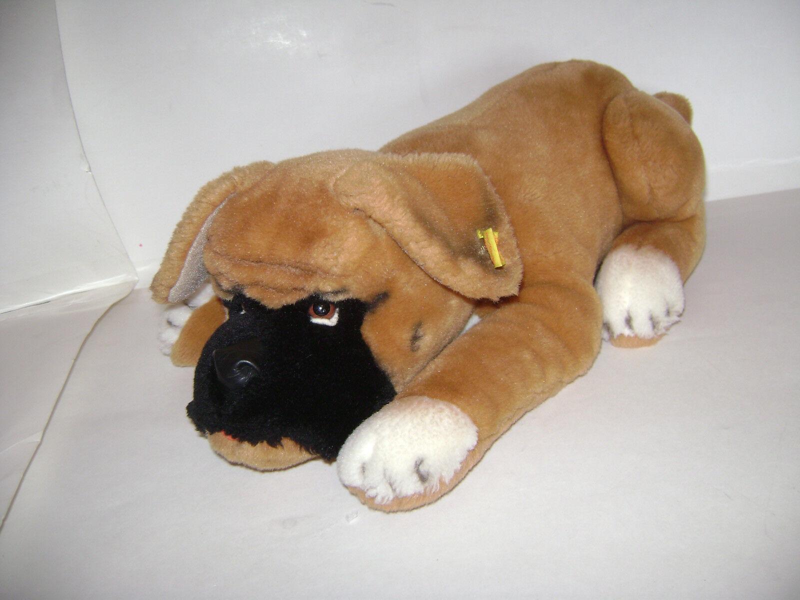 STEIFF BOBBY BOXER DOG LAYING DOWN 4045 35 17  PLUSH STUFFED WEST GERMANY RARE