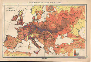 MAP EUROPE DENSITY OF POPULATION BRITISH ISLES FRANCE - France germany map