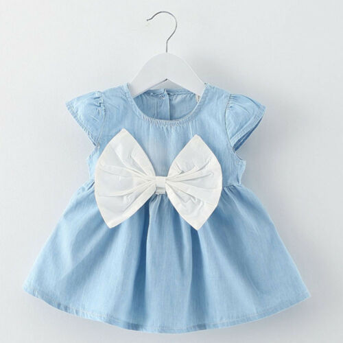 0-24Months Toddler Baby Girls Denim Bowknot Dress Party Holiday Clothes Dressy