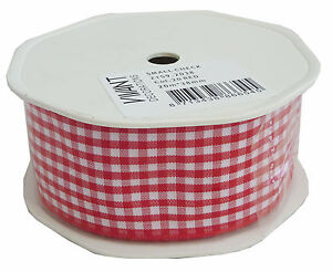 2159-2038-Small-Check-Gingham-Vivant-Ribbon-38mm-x-1m-Red