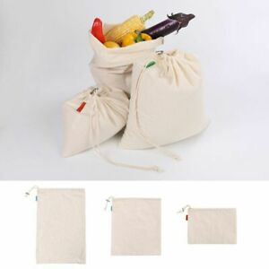 Cotton Mesh Produce Bags Reusable Grocery Fruit Storage Shopping String Bag