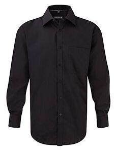 Russell-Collection-Mens-Shirt-Black-Large-XL-XXL-XXXL-Long-Sleeve-Formal-Office