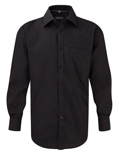 Camicia da Uomo Russell Collection Nero Grande XL XXL XXXL Manica Lunga Ufficio Formale