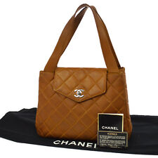 Auth CHANEL Quilted CC Logos Hand Tote Bag Brown Leather Vintage B31135