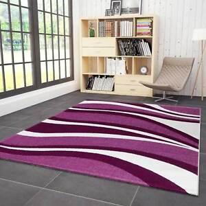 Wohnzimmer Teppich Lila Pink Weiss Kurzflor Teppiche Wellen Muster ...