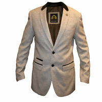 Mens Marc Darcy Fashion Suit Style Blazer Tweed Jacket Ronny - Cream