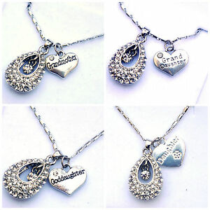 Details About Personalised Luxury Grandmother Granddaughter Crystal Necklace Pendant Gift Box