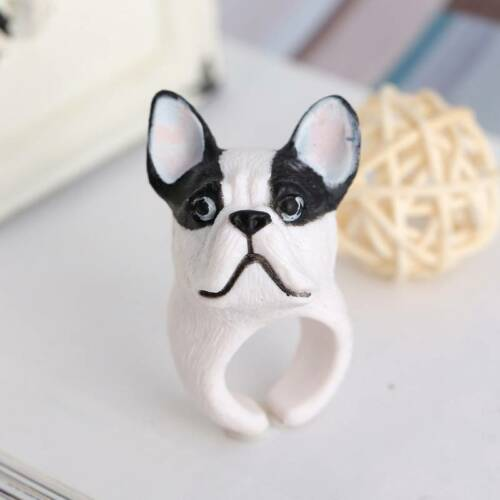 Trendy Cute Adorable 3D Dog Plastic Ring Opening Animal Ring Jewelry Women Gift