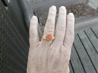 Rough Cut Fire Opal & Simulated Champagne Accents 14k Yg Over Sterling Ring Sz 7