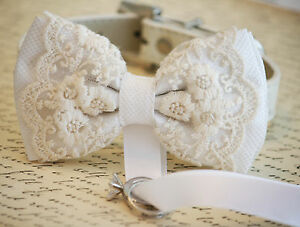 White-Dog-Bow-Tie-Collar-Dog-ring-bearer-Pet-Wedding-accessory-Proposal-Lace