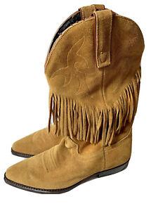 8-5-M-Boots-Vittorio-Ricci-Leather-Fringe-Dark-Tan-Cowboy-Western-Women-s-8-5-M