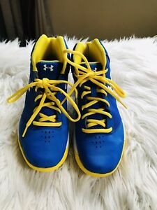 boys under armor basketball sneakers yellow/blue us youth