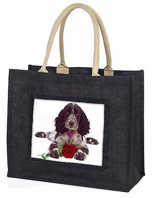 blue roan Cocker Spaniel mit rosé große schwarze Einkaufstasche Weihnachten,