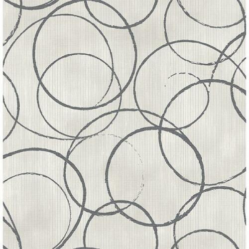 Wallpaper Designer Modern Large Charcoal Circles on Gray Striped Faux