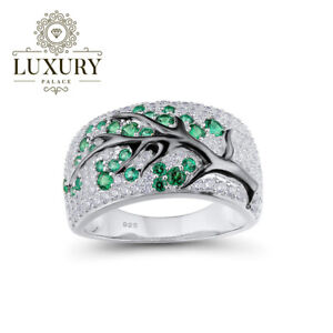 Green-Spinel-Cubic-Zirconia-Solid-925-Sterling-Silver-Branch-Cocktail-Women-Ring