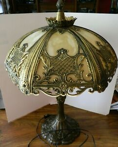 Vintage-Decoration-Art-Deco-incurvee-6-Section-Slag-verre-amp-laiton-lampe-de-table-Excellent