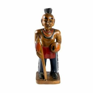 Wooden-Mohican-Indian-50cm-Hand-Carved-Ornament-Home-Decor
