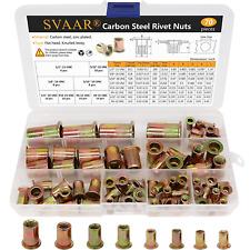 Unc Rivet Nuts Rivnut Assortment Kit Carbon Steel Flat Head Rivnut 12 1338