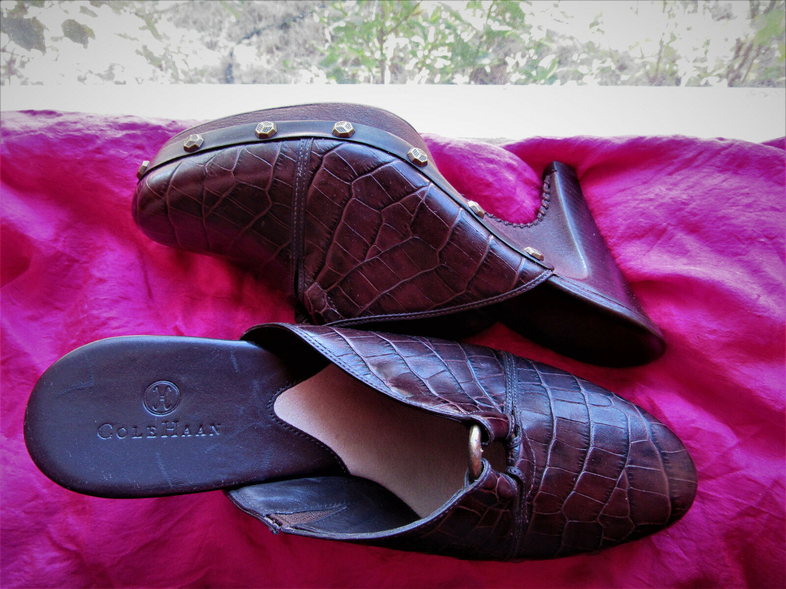 COLE HAAN SHOES BROWN CROC LEATHER CLASSY CLOGS /!SIZE 8.5 B/40 !MADE IN BRAZIL